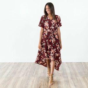 High low maroon dress
